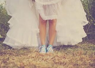 blue converse bride